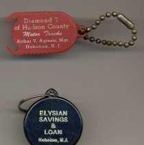 Image of Key chain: Diamond T of Hudson County; key tag: Elysian Savings & Loan, both Hoboken. 1950s-1980s. - Chain, Key