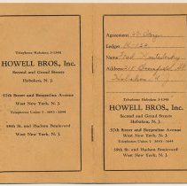 Image of Credit account book of Fred Kostelecky, 218 Bloomfield St. for furniture from Howell Bros. Inc., 2nd & Grand Sts., Hoboken, 1954. - Book, Account