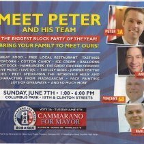Image of Political handbill: Meet Peter [Cammarano] and his Team. Sunday June 7th [2009], Columbus Park, 10th & Clinton Streets (Hoboken.) - Handbill