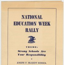 Image of Program: National Education Week Rally. Theme: Strong Schools Are Your Reponsibility. Brandt School, Hoboken, N.J. Nov. 8, 1954. - Program