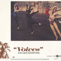 "Image of Lobby card set for film ""Voices""; location filming in Hoboken, ca. late 1978 or early 1979. - Sign"