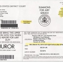 Image of Jury Summons, United States District Court, Newark, N.J., for a Hoboken resident, March 2010. - Documents