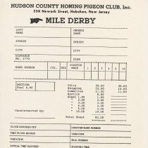 Image of Blank form: Mile Derby; Hudson County Homing Pigeon Club, Hoboken. N.d., ca. 1985-2000. - Documents