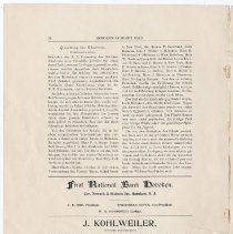 Image of pg 18: Grundung der Akademie; ads First Nat. Bank; J. Kohlweiler