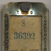Image of Todd Shipyards Corporation, Hoboken, employee identification badge. Dated Sept. 6, 1949. - Badge, Identification