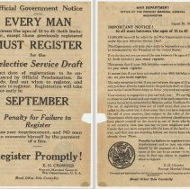 Image of Official Government Notice; Every Man Between...18 to 45...Must Register for the Selective Service Draft. War Dept., Aug. 26, 1918. - Handbill