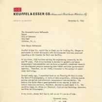 Image of TLS to Mayor Louis DePascale, Hoboken, from Alfred Busch, Pres., K&E, Dec. 8, 1966 - Letter