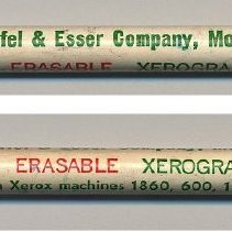 Image of Advertising eraser for Xerographic Vellum, issued by the Keuffel & Esser Co., Morristown, N.J., no date, circa 1971-1975. - Eraser