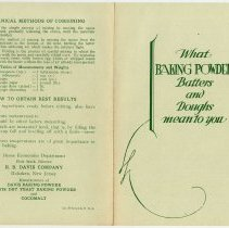 Image of Pamphlets, 5, using Davis Baking Powder et al; for use in Home Economics classes; issued by R. B Davis Company, Hoboken, N.J., 1930; 1931. - Brochure