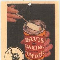 Image of Davis Baking Powder advertising hang tag. R. B. Davis Company, Hoboken, N.J., n.d, circa 1926. - Tag, Merchandise