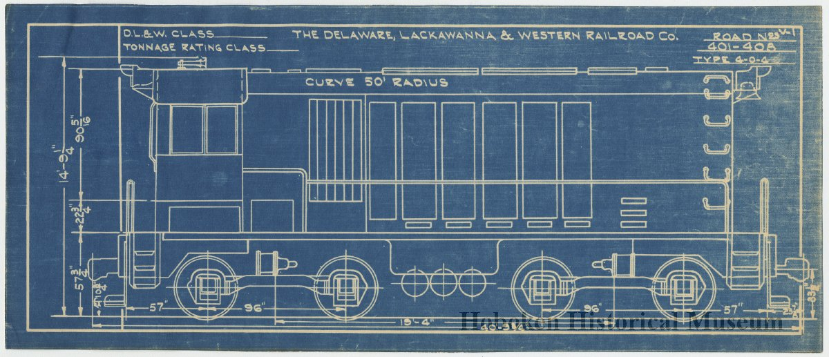 Diagrams: D L  & W  Railroad, Switching Locomotive type 4-0-4, 1933