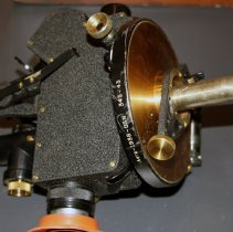 Image of detail bottom of theodolite with pin to insert in gimbal mount