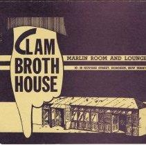 Image of Menu: Clam Broth House, Marlin Room & Lounge, 30-38 Newark St.,  Hoboken, N.J. N.d., ca. 1970-1980. - Menu