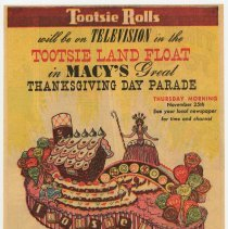 Image of Ad, Tootsie Rolls: Tootsie Land Float in Macy's Thanksgiving Day Parade, Nov. 25, 1954. - Ad, Magazine