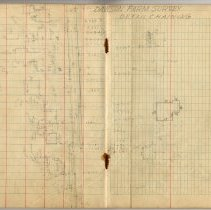 Image of pp 29-30; student field record: Dawson Farm Survey, detail chaining