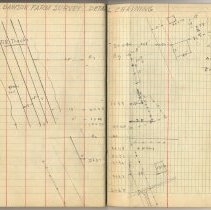 Image of pp 45-46: student field record: Dawson Farm Survey, detail chaining