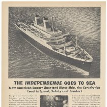 "Image of Ad, Bethlehem Steel: ""The Independence Goes to Sea. New American Export Liner..."" Finance Week, March 16, 1951. - Ad, Magazine"