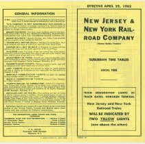 Image of Timetable: New Jersey & New York Railroad Co., Suburban Time Tables, Eff. Apr. 29, 1962. - Timetable
