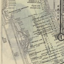 Image of map detail: Hoboken showing piers, shipping lines, .D.L.& W. RR