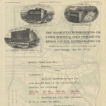 Image of [Map] Letterhead of Union Terminal Cold Storage Co., N.Y., May 2, 1918, with pre-WWI map printed on back of N.Y.C. & N.J. transportation. - Map
