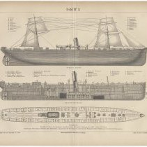 Image of Plate with S.S. Frisia (1) plans, Hamburg-American Packet Co., Meyers Konversations-Lexikon, 1878. - Illustration