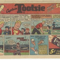 "Image of Ad, Tootsie Rolls: ""Captain Tootsie Makes Rollo Strike-Out Artist."" Washington Star, Comics section, Sunday, May 14,1950. - Ad, Newspaper"