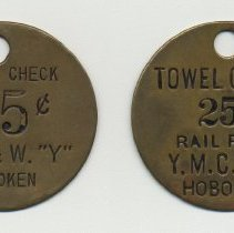 "Image of Round; Tag 1: D.L.& W. ""Y"" 25 cents; Tag 2: Railroad Y.M.C.A. 25 cents"