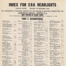 Image of index for ERA Headlights vol. 11, Jan. to Dec. 1949 pg [1] of 3