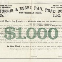 Image of Bond [D.L. & W.]: Morris & Essex Railroad, NJ, 7% Convertible Bond, $1000 denomination, 1869. Specimen copy. - Bond