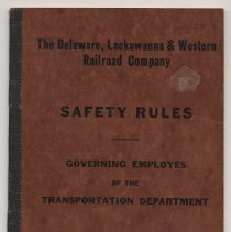 Image of Book: D.L. & W. Railroad Co. Safety Rules, Transportation Dept., 1945. - Manual, Employee