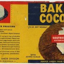 Image of Label: Baker's Coconut. Southern Style. 1/4 lb. Franklin Baker Div., General Foods, Hoboken, n.d., ca. 1938-1943. - Label