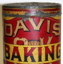 Image of front Davis Baking Powder five pound can