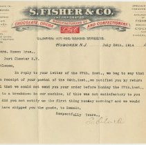 Image of TLS from S. Fisher & Co., Clinton, 11th & Grand Sts., Hoboken, July 28, 1914 re response to problem order. - Letter