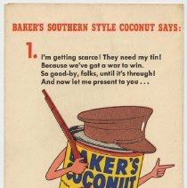 Image of Brochure: Baker's Coconut promotion for Premium Shred replacing Southern Style due to WWII. Issued by General Foods Corp., cpyrt 1943. - Brochure