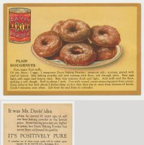 Image of 7. recipe card, front (enlarged) & back: plain doughnuts