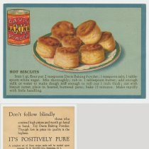 Image of 8. recipe card, front (enlarged) & back: hot biscuits
