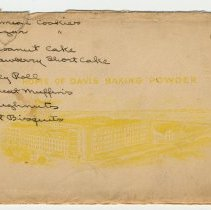 Image of front of envelope: vignette view, Home of Davis Baking Powder