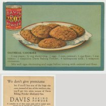 Image of 1. recipe card, front (enlarged) & back: oatmeal cookies