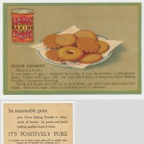 Image of 2. recipe card, front (enlarged) & back: sugar cookies