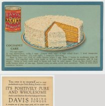 Image of 3. recipe card, front (enlarged) & back: cocoanut [sic - coconut] cake