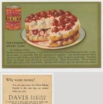 Image of 4. recipe card, front (enlarged) & back: strawberry short cake (shortcake)