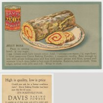 Image of 5. recipe card, front (enlarged) & back: jelly roll