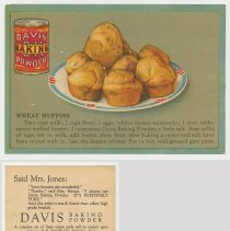Image of 6. recipe card, front (enlarged) & back: wheat muffins