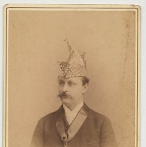 Image of Cabinet photo of Ernst Rehm in ceremonial hat & large star on neck ribbon, Hoboken, n.d., ca. 1880s-1891. - Photograph, Cabinet