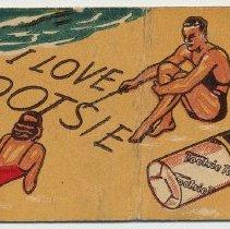 Image of 3: beach; I Love Tootsie; [Chocolate Tootsie Rolls]