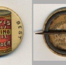 Image of Button: Davis O.K. Baking Powder. R.B. Davis Co, N.Y. N.d., ca. 1896-1910. - Button