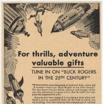 "Image of Ad, Cocomalt: For Thrills, Adventure, Valuable Gifts; Tune in on ""Buck Rogers in the 25th Century."" 1834. Radio sponsor Cocomalt made by R.B. Davis Co., Hoboken. - Ad, Magazine"