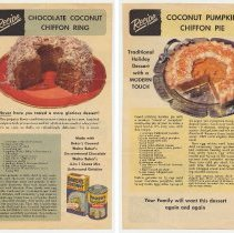 Image of Leaflet; Baker's Coconut reipes: Chocolate Chiffon Coconut Ring; Coconut Pumpkin Chiffon Pie. Franklin Baker Div., General Foods, Hoboken, n.d., ca. 1947-1955. - Recipe