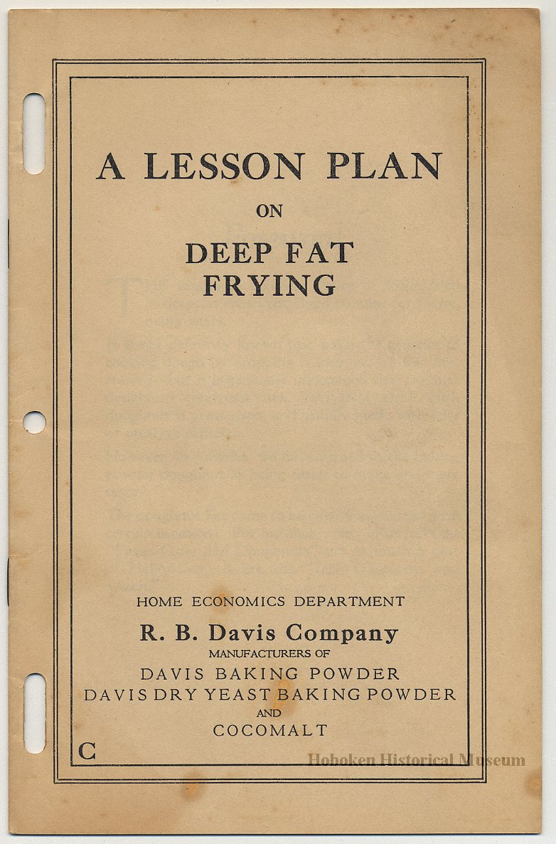 a lesson plan on deep fat frying home economics dept r b davis