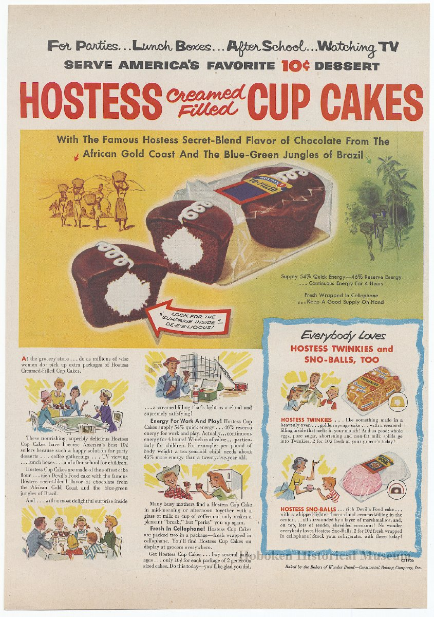 Ad, Hostess Cup Cakes: Hostess Cream Filled Cup Cakes  By